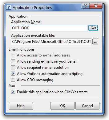 ClickYes Pro 2010 Application Properties Window