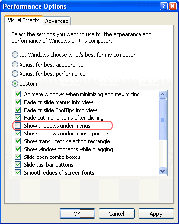 Windows Exlorer Performance Options
