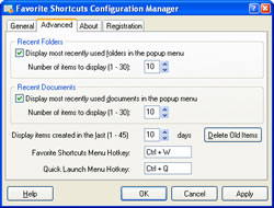 Favorite Shortcuts Configuration Manager. Click to view full size image.