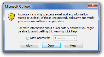 A program is trying to access e-mail addresses you have stored in Outlook